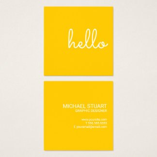 Hello   Casual Modern White & Yellow Square Business Card
