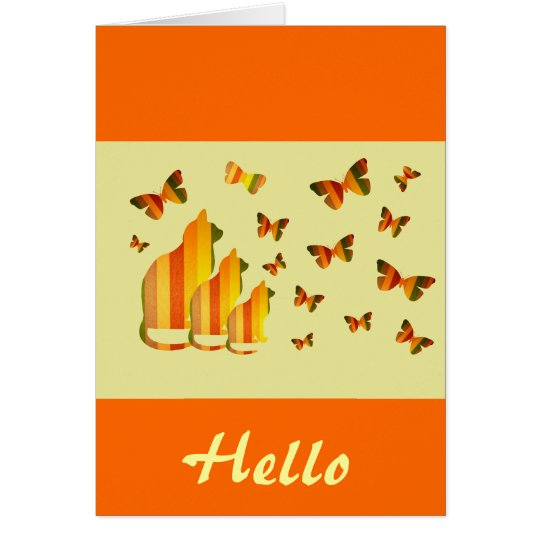 'Hello', Cats & Butterflies in orange & yellow Card