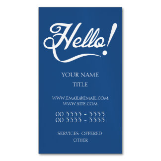 Hello Classic Blue Magnetic Business Card