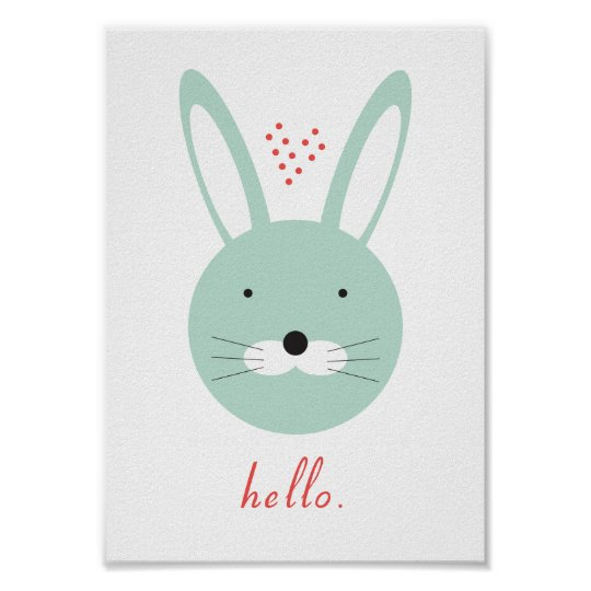 'Hello' cute rabbit poster