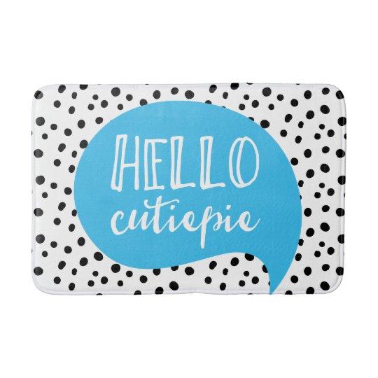 Hello cutie-pie spotty blue bath mat