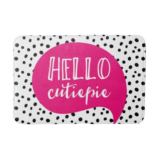 Hello cutie-pie spotty pink bath mat