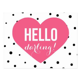 Hello Darling | Polka Dots Greeting Postcard