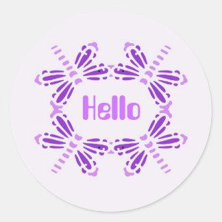 Hello, dragonflies in purple & mauve classic round sticker
