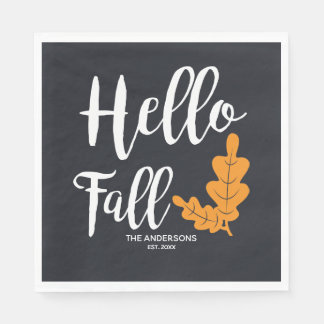 Hello Fall. Modern Thanksgiving. Disposable Napkins