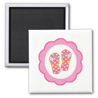 Hello Flip Flops Square Magnet