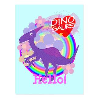 Hello Flower Purple Dinosaur Postcard