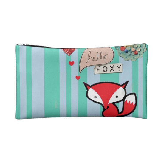 Hello Foxy Cute Fox with Buttons in Turquoise
