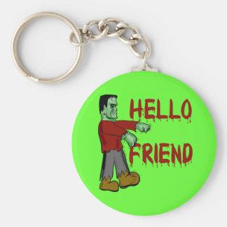 Hello Friend Creepy Frankenstein T shirts, Hoodies Basic Round Button Key Ring