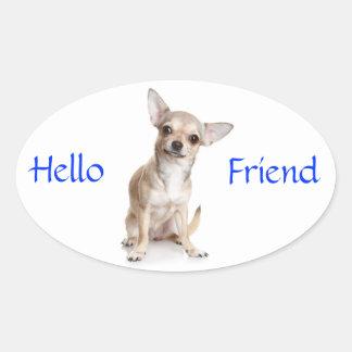 Hello Friend Smiling Chihuahua Sticker