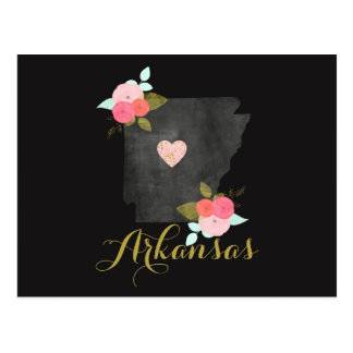 Hello from Arkansas State Floral & Moveable Heart Postcard