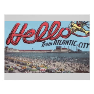 Hello From Atlantic City , Vintage Full Color Flyer