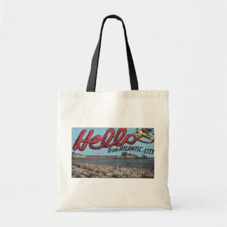 Hello From Atlantic City , Vintage Tote Bag