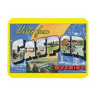Hello from Casper Wyoming_Vintage Travel Poster Rectangular Photo Magnet