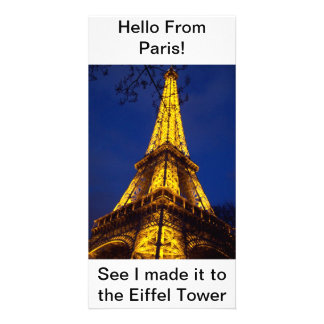 Hello from Paris Post Card Photo Greeting Card