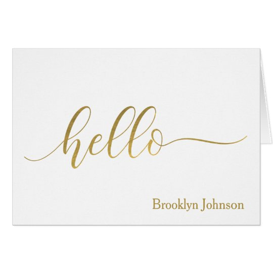 """""""Hello"""" Gold Typography Name Personalised Card"""