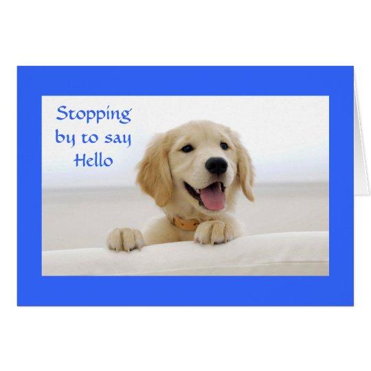 Hello Golden Retriever Puppy Greeting Card