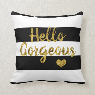 Hello Gorgeous Black and White Striped Throw Pillow