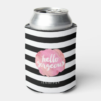 Hello Gorgeous Black Stripe & Pink Watercolor Can Cooler