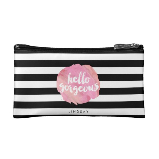 Hello Gorgeous Black Stripe & Pink Watercolor Cosmetics