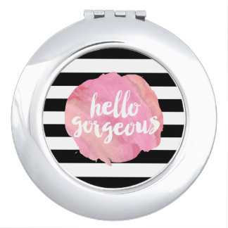 Hello Gorgeous Black Stripe & Pink Watercolor Vanity Mirror