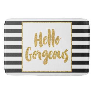 Hello Gorgeous Black & White Gold Glitter Stripes Bath Mats