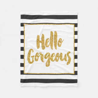 Hello Gorgeous Black & White Gold Glitter Stripes Fleece Blanket