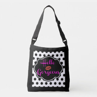 Hello Gorgeous Black White Polka Dot Hot Pink Tote