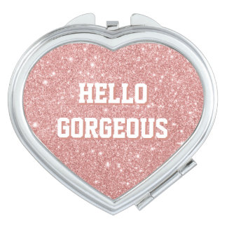 HELLO GORGEOUS Chic Faux Glitter Rose Gold Makeup Mirrors