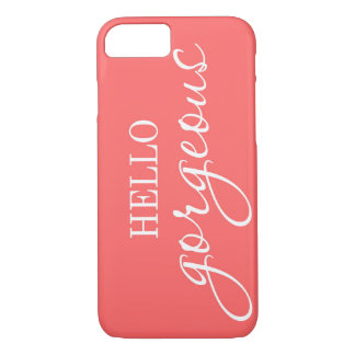 """""""Hello Gorgeous!"""" coral pink iphone case"""