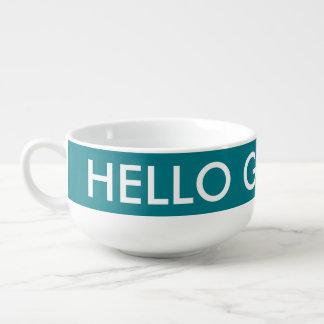 Hello Gorgeous custom color soup bowl mugs