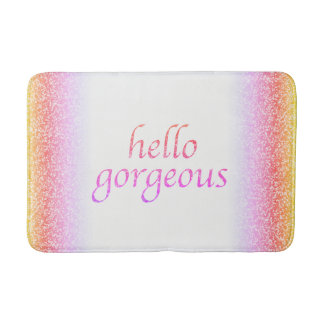 Hello Gorgeous Flirty | Bright Glitter Look Girly Bath Mat
