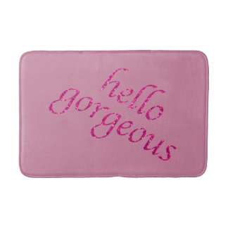 Hello Gorgeous Flirty | Pink Glitter Look Girly Bath Mat