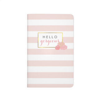 Hello Gorgeous Journal | Pink Stripe & Blush Peony