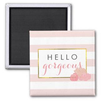 Hello Gorgeous Magnet | Pink Stripe & Blush Peony