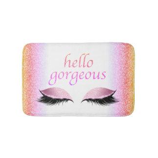 Hello Gorgeous Makeup Eyelashes Pink Glitter Girly Bath Mat