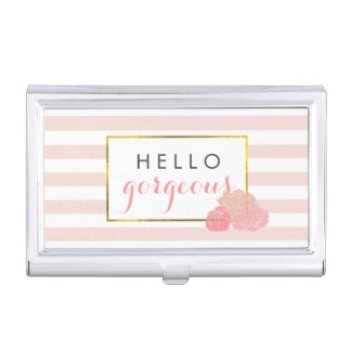 Hello Gorgeous | Pink Stripe & Blush Peony Business Card Holder