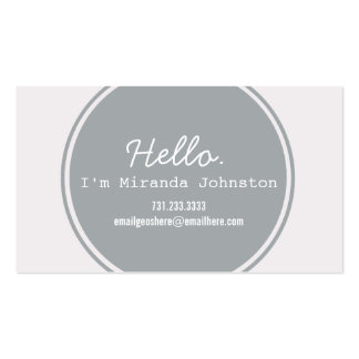 Hello Gray Circle Design Calling Cards Business Card Template