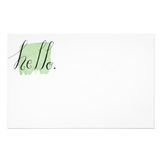 hello hand lettered watercolor stationery