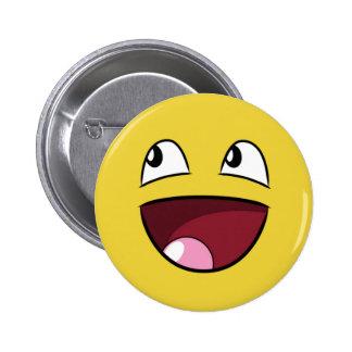 hello happy face 6 cm round badge