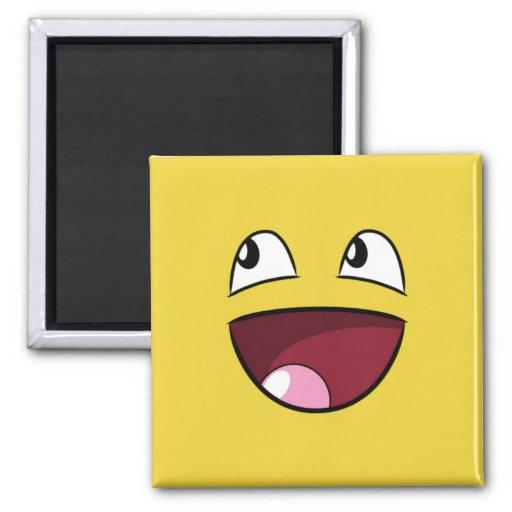 hello happy face square magnet