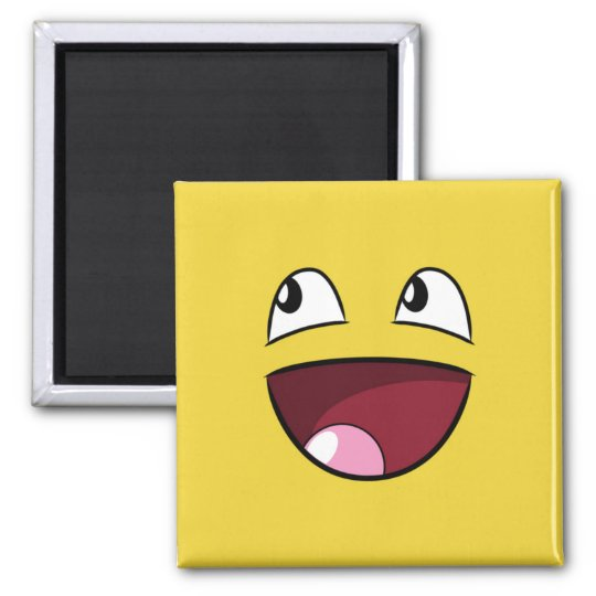 hello happy face square magnet