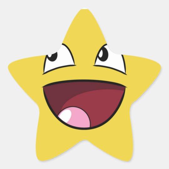 hello happy face star sticker