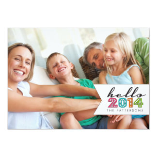 Hello Happy New Year 2014 Family Photo Card 13 Cm X 18 Cm Invitation Card