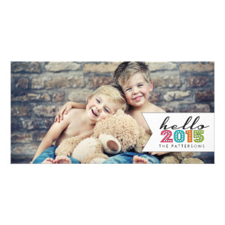 Hello Happy New Year 2015 Family Photo Card
