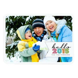 Hello Happy New Year 2015 Family Photo Card 13 Cm X 18 Cm Invitation Card