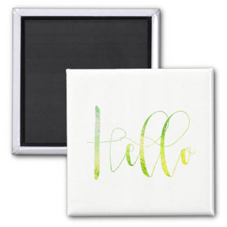 Hello Hi Mint Green White Delicate Keep in Touch Square Magnet