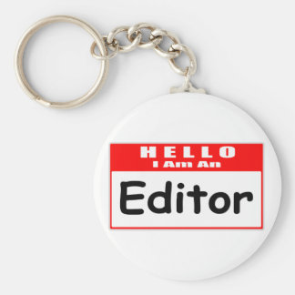 Hello, I Am An Editor ... Nametag Basic Round Button Key Ring