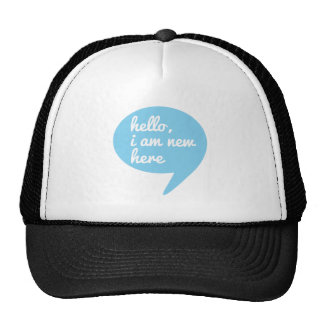 hello, I am new here, blue speech bubble Hat