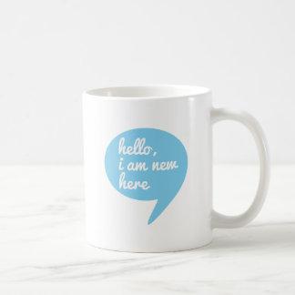 hello, I am new here, blue speech bubble Mugs